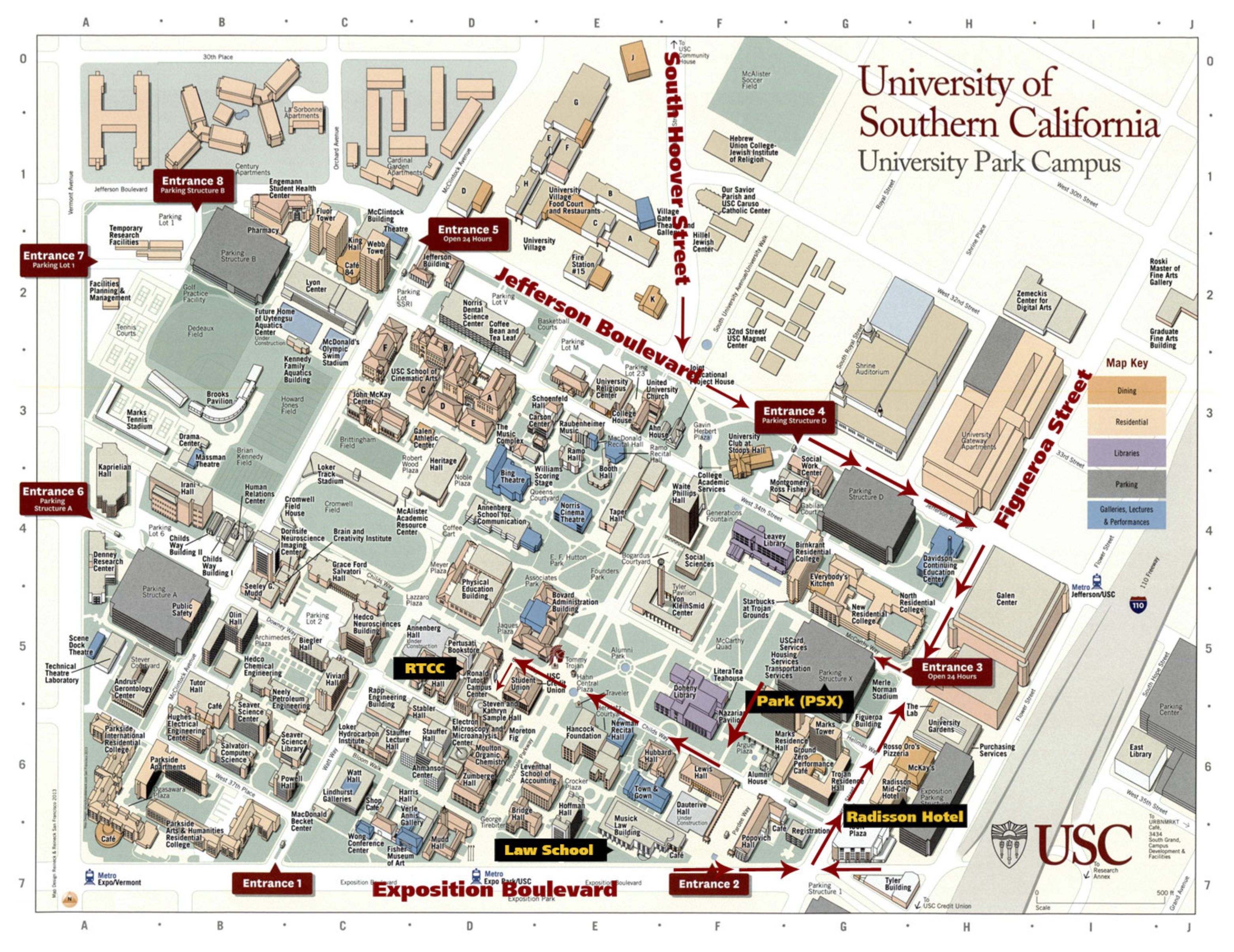 Map Of Usc Campus USC campus map PSX lot RTCC – Freedom of Expression in a Changing  Map Of Usc Campus