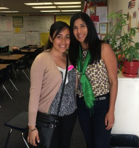 UCI Bilingual Student teacher, Evelin Villanueva and Master Teacher, Myuriel VonAspen