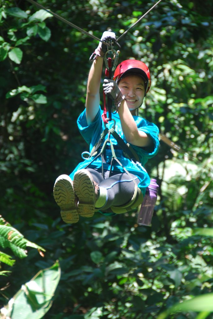 "Christina enjoying one of the many zip lines on ""The Flight of The Toucan""."