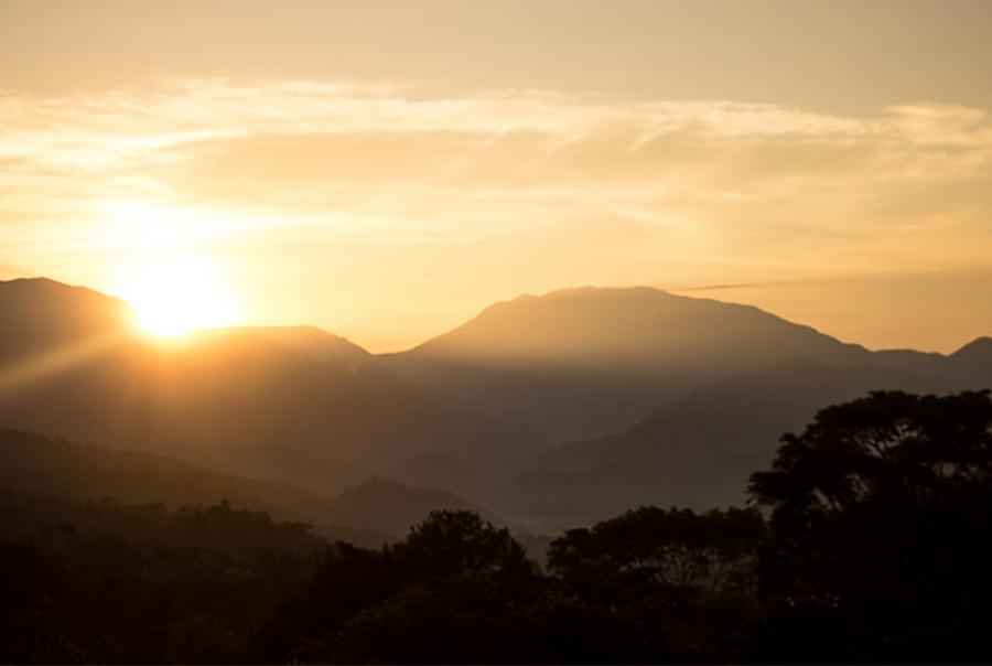 Sunrise over Mastatal in Costa Rica.
