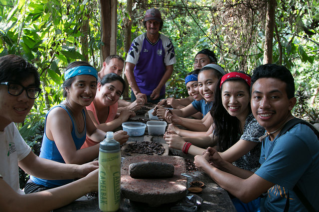 Our groups hard work resulted in a bowl of freshly peeled cacao nuts that are ready to be ground and flavored.