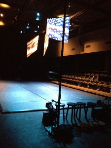 The xMPL set up for a performance.
