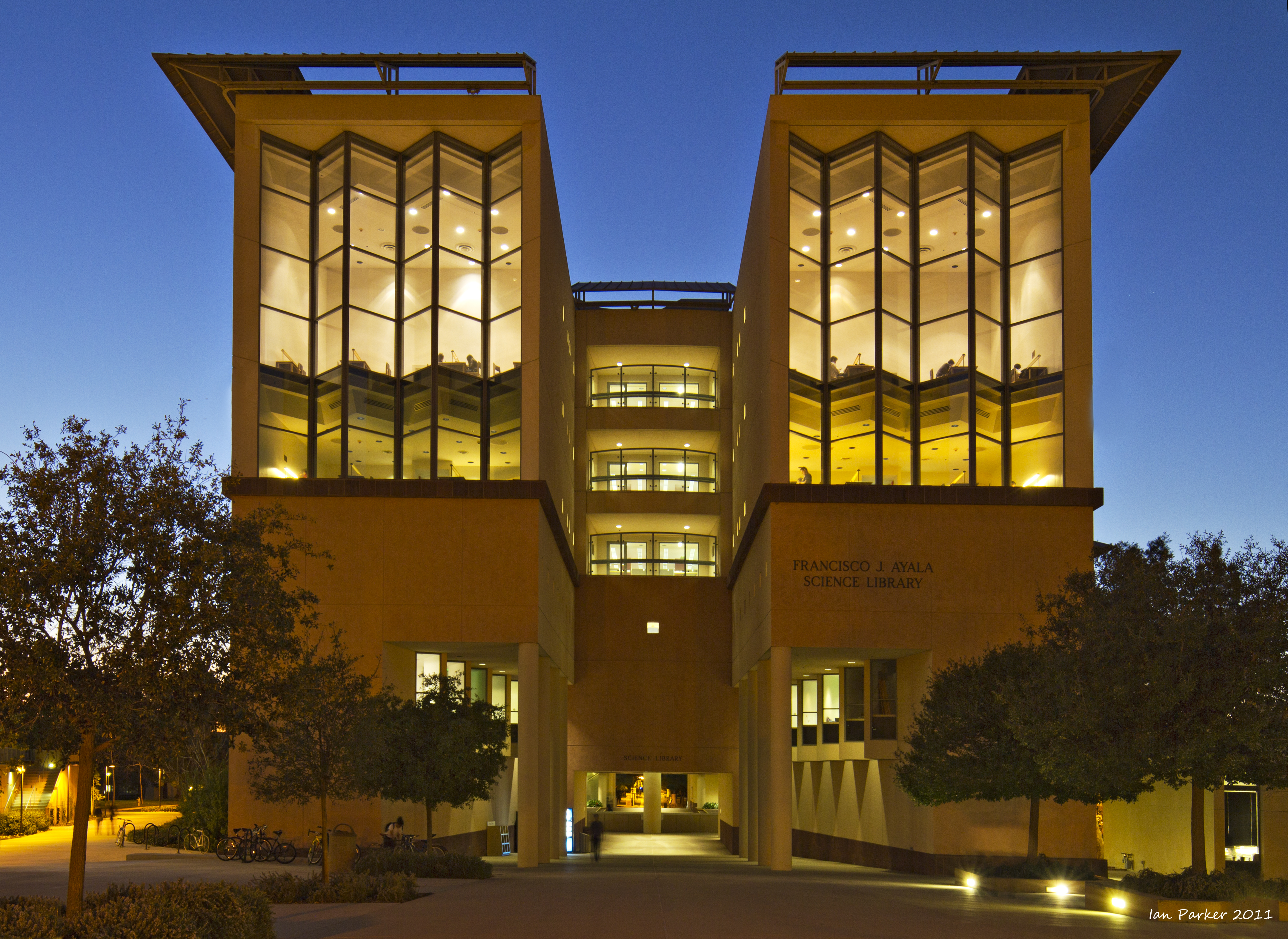 This is the outside of the UCI Science Library.