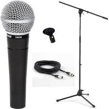 Microphone with stand and cables