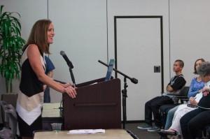 Dr. Jodi Quas presenting about children's false allegations and false denials of abuse