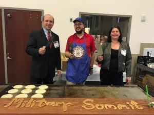 David Hunt, President & CEO of Pacific Northwest Defense Coalition; Chris Pancakes (Best pancake flipper in Oregon); Kate Kanapeaux, Program & Events Director