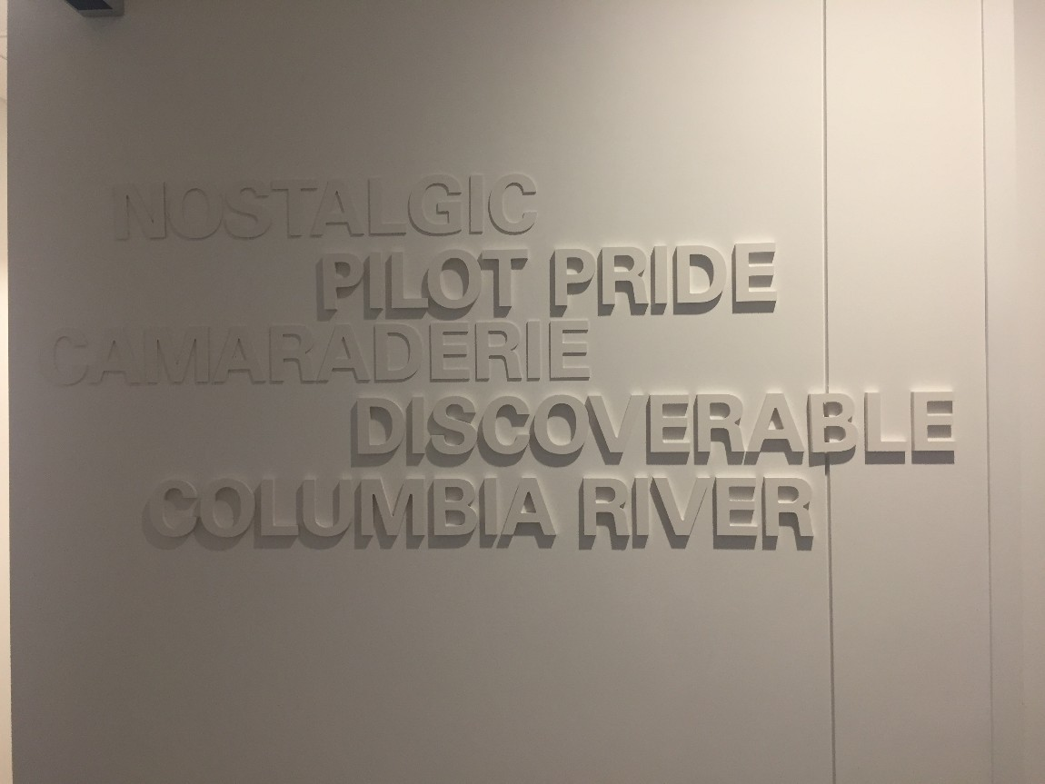 Pilot Pride has been embossed into a wall at the offices of KPMG in Portland.