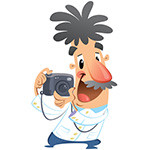 Cartoon crazy photographer