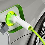 Plug-in hybrid or electric car being recharged. 3D illustration.