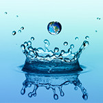 Falling drop of rain with blue earth image and water splash in crown shape