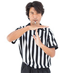 Serious referee showing time out sign over white background