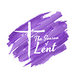 The season of lent banner with white crucifix on purple background Paint brush style vector design