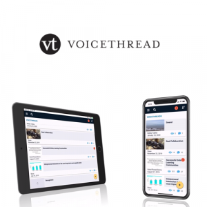 Photo of an iPad and Phone with the Voicethread app lauched
