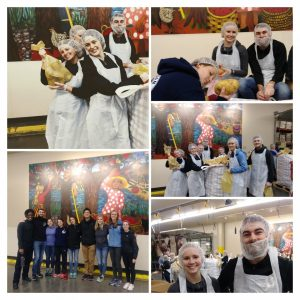 collage of urban immersion 2018 participants volunteering at oregon food bank january 18, 2018