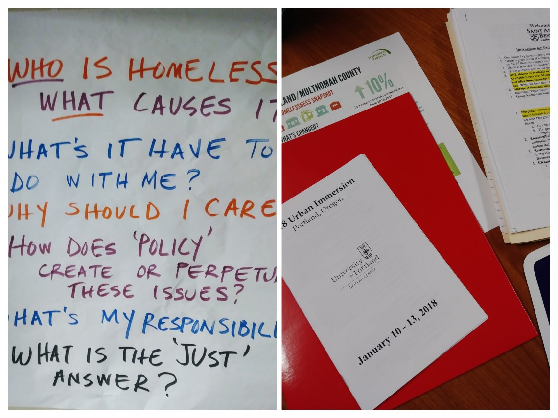image of program for urban immersion 2018 and of wall sheet with inquiry questions regarding homelessness