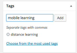 example of wordpress tags interface
