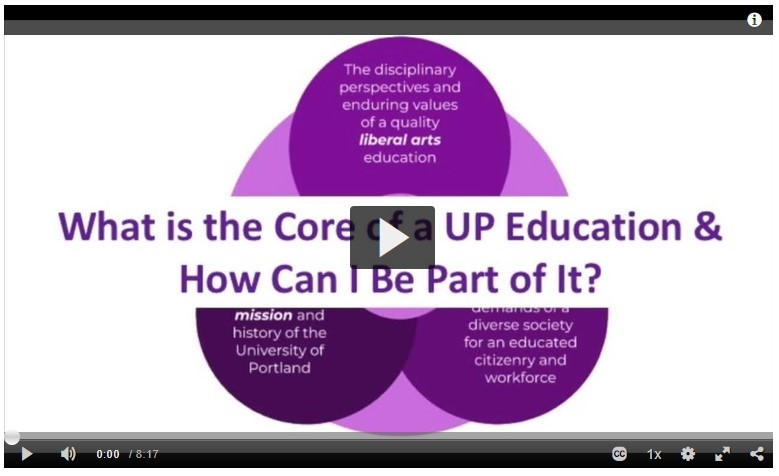 "Image is a screen shot of a video with the title ""What is the Core of a UP Education and How can I be part of it""?"