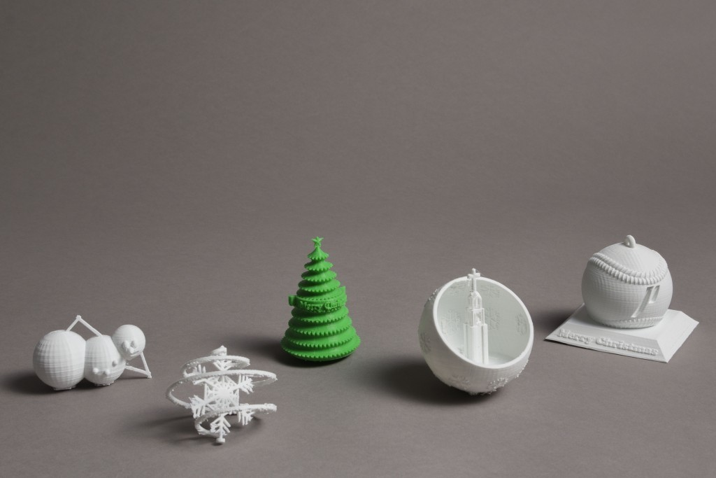 (from right to left) Kiley Gersch, Snowman, Nicholas Nelson, Snowflake, Courtney Otani, Merry Christmas Tree, Ethan Stansfield, Bell Tower, Adam Wozniak, Portland Pilots / Baseball Ornament