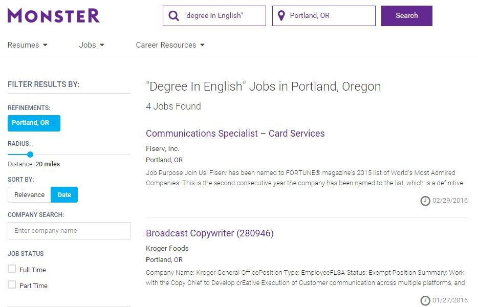 jobs for creative writing majors