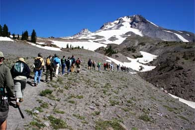 Hikes walking on Mount Hood