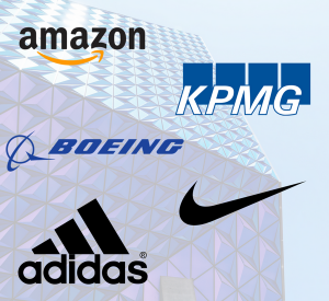 Image with Amazon, KPMG, Boeing, Adidas and Nike listed as OTM hiring companies.