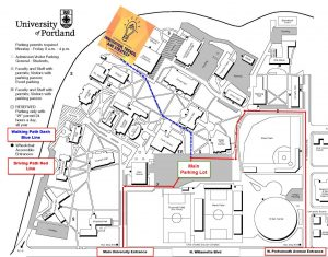 Map of UP campus highlighting the Bauccio Commons as the space for the OTM Symposium.