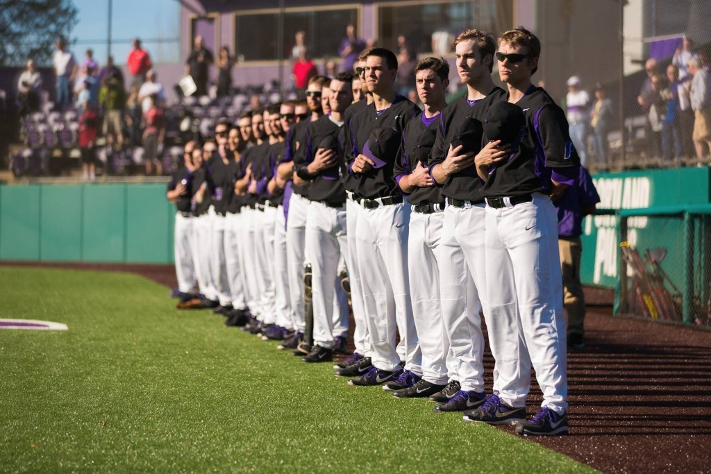 baseball team during national anthem