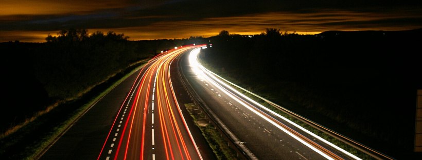 Highway with lights in extended frame