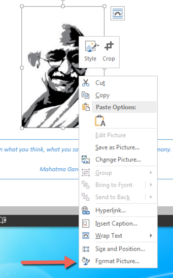 In image in Word with the right-click context menu open. An arrow points to the Format Picture option in the context menu