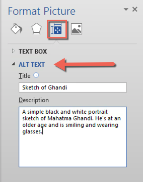 The Format Picture options box. The Layout and Properties tab is selected and an arrow points to the Alt Text options. The description field is filled out with alt text.