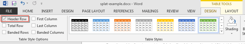 The MS Word options ribbon. The Table Tools - Design tab is open and the Row Headers checkbox is circled
