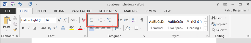 MS Word with the Home tab selected and list styles circled