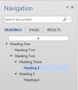 The navigation pane shows an easy to understand view of the hierarchical relationship between headings and subheadings