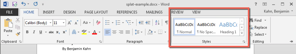 The ribbon menu in MS Word, with the home tab open and the styles group circled