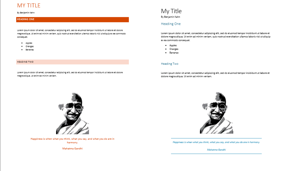 Two Word documents side by side. The content is exactly the same but different style sets are applied, so the fonts, text size, colors and formatting are different.