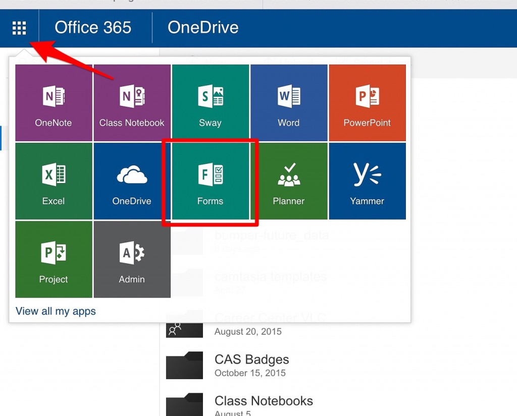 the office 365 web site with the app launcher expanded, showing how to find the forms tool