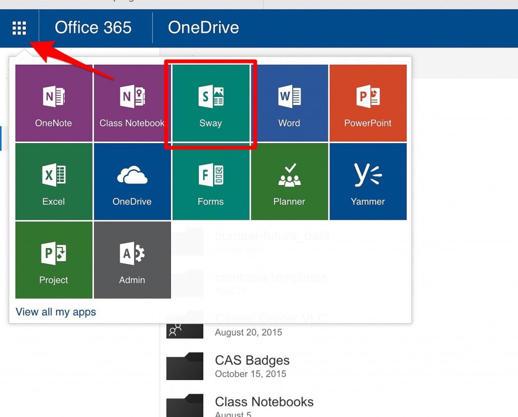 the office 365 app launcher expanded with the Sway tile highlighted