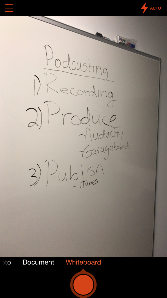 using the Office Lens app to capture the text on the whiteboard