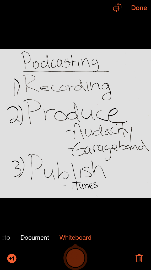 "black text on a white background reads the text readings ""Podcasting: 1) Recordings, 2) Produce - Audacity - Garageband, 3) Publish - iTunes"