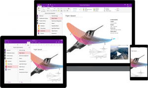 a tablet, laptop, and phone all showing the same onenote document