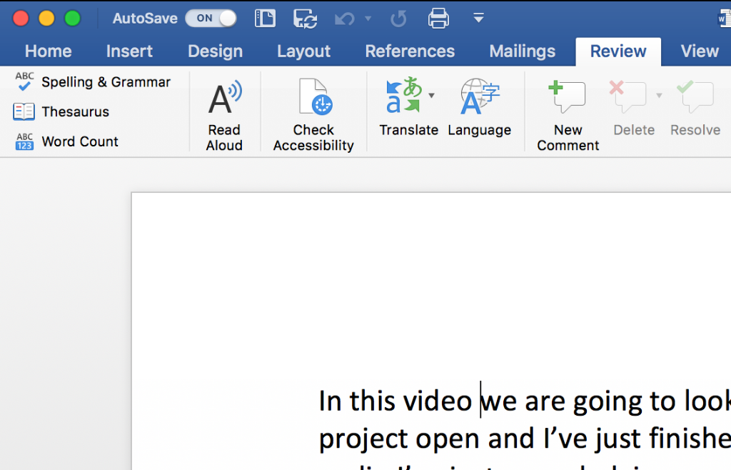 Microsoft Word with the Review tab exapnded - Read Aloud, Check Accessibility, and Translator tools are visible