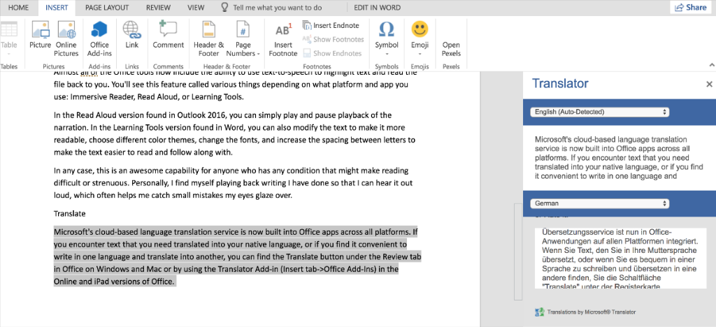 Microsoft Word with the translator pane open, showing a passage translated from English to German.