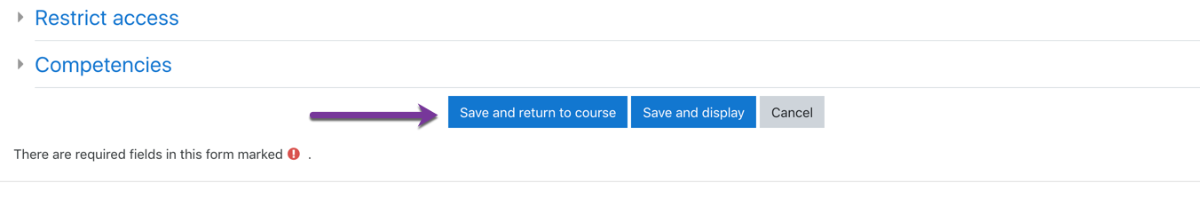 Saving the activity and going back to your course page.