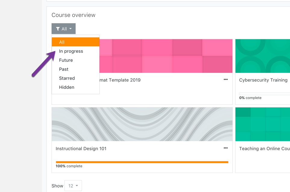 Filtering your course overview to show your current term's classes.