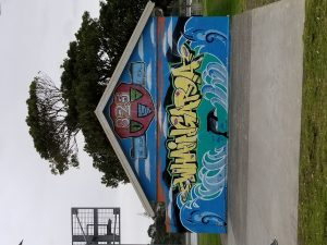 Picture of graffiti of the Maori name for the area of Raglan