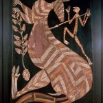 Bark painting depicting a man spearing a kangaroo