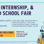 flyer for job, internship, and grad school fair