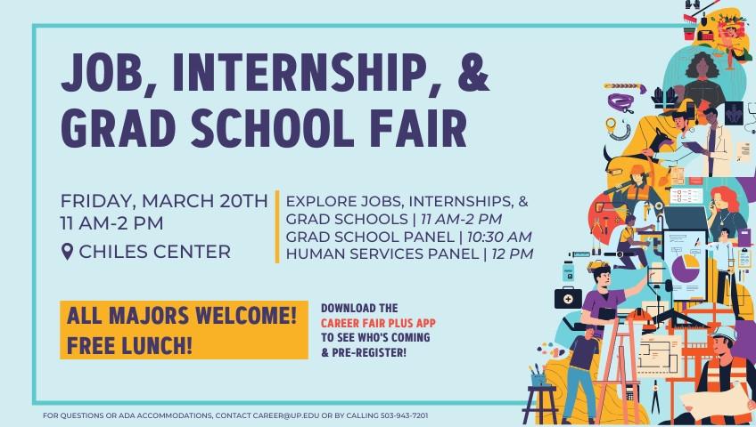 flyer for job, internship, and grad school fair