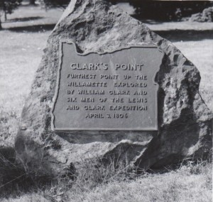 Clark's Point stone marker dedicated October 10, 1945