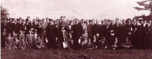 Archbishop Alexander Christie, founder of the University, with faculty, staff, and students, 1911